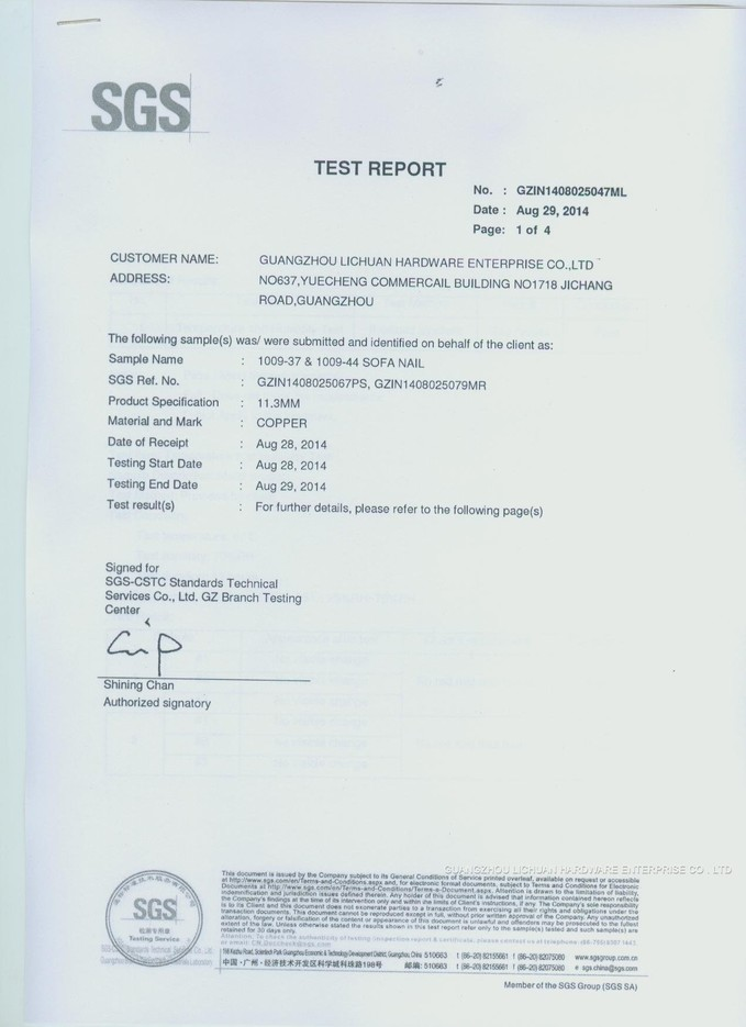 SGS TEST REPORT 2