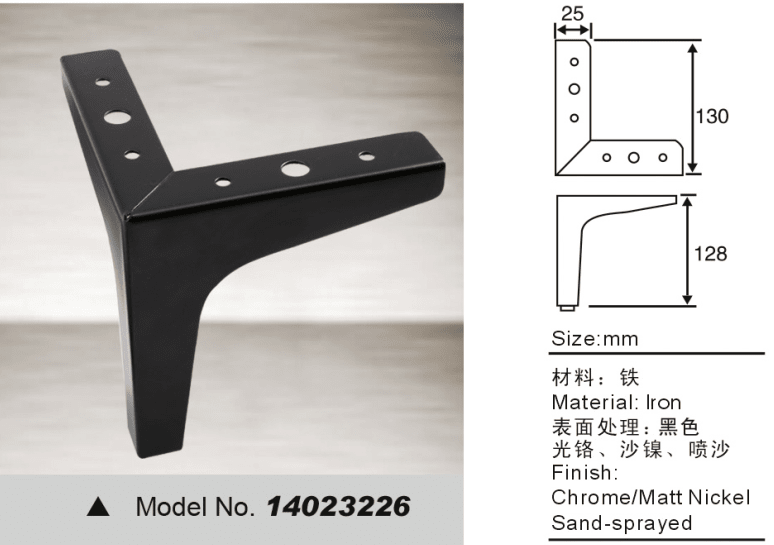 Black colour Y shape furniture leg for sofa bed