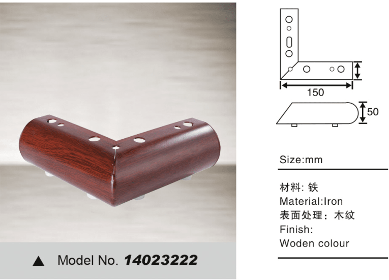 Decorative sofa leg for furniture hardware