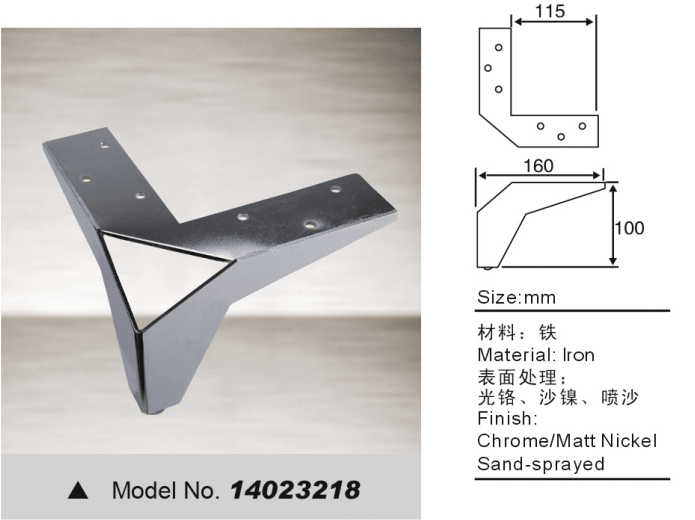 Decorative leg with iron for sofa bed